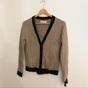 LOFT Tan & Black Button Down Cardigan Sweater